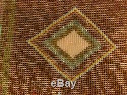 ANTIQUE WHIRLING LOG BEADWORK PANEL likely Great Lakes for 2 sided tobacco bag