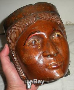 ANTIQUE c. 1860 CIGAR STORE NATIVE AMERICAN INDIAN CARVED WOOD ASHTRAY vafo