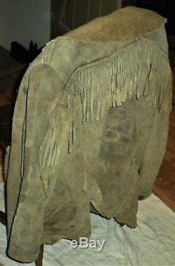 ANTIQUE c190030s PLAINS NATIVE AMERICAN INDIAN FRINGED LEATHER COAT JACKET vafo
