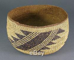 ANtique Hupa Karuk Yurock California Indian Ceremonial Geometric Basket Bowl