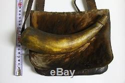 Atq Native American Indian Leather Fur Hunting Bag Pouch Horn Gun Powder Flask