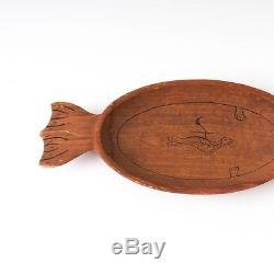 Alaska Eskimo Nunivak Island Driftwood Carved Tray Bowl Seal Original Tag 12.5L
