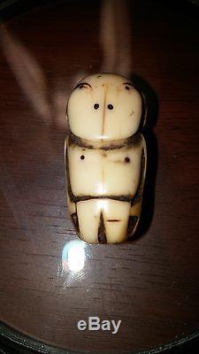 Alaska Sugpiaq Eskimo Seal Oil Lamp Charm Walrus/Man Figure(circa 1700s)