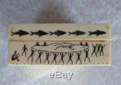 Alaskan Yupik or Inuit scrimshaw tobacco box or snuff box Eskimo hunting scenes