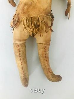 Antique 1800's Apache Native American Indian Beaded Hide Buckskin Leather Doll