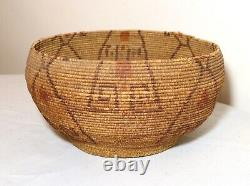 Antique 1800's Native American hand woven polychromed Maidu wicker basket Indian