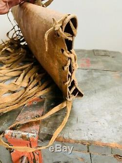 Antique 1800s Native American Indian Cylinder Parfleche Painted Deer Hide Case