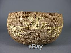 Antique 1900-10 Hupa Indian Northern California Geometric Design Basket