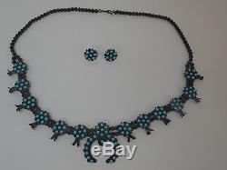 Antique 1900 Sterling Silver Native American Squash Blossom Necklace Old Pawn