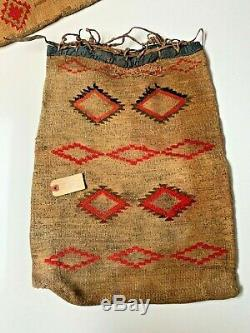 Antique 1900's Nez Perce Indian Woven Corn Husk Bag Red & Black Hourglass 22