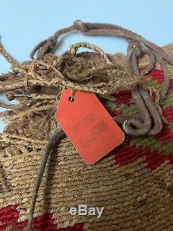 Antique 1900's Nez Perce Indian Woven Corn Husk Bag Red / Green / Yellow 19