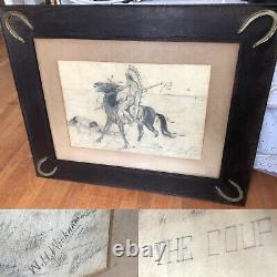 Antique 1900s Native American Indian The Coup Signed Drawing Horseshoe Frame