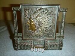 Antique 1910 Judd MFG. Brass Native American Indian Extending Bookends