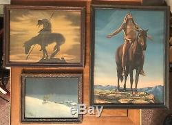 Antique 1920s NATIVE AMERICAN INDIAN Horse LITHO Print Lot Dallin Lone Wolf Vtg