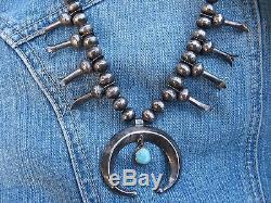 Antique 1920s Navajo Squash Blossom Necklace Blue Gem Turquoise Silver Petite