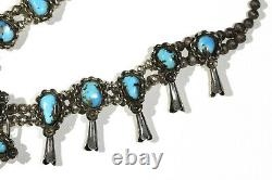 Antique 1940s or 50s Native American Old Pawn Turquoise Silver Squash Blossom