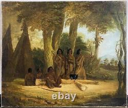 Antique 19th C. Native American Indians Hunting Group with Bows Oil Painting