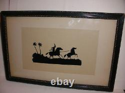 Antique 19th Cut Paper Silhouette Native American Indian capturing a wild horse