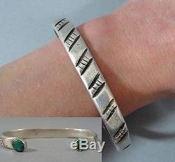 Antique 19thC Handmade Native American Navajo Old Pawn Silver Turquoise Bracelet
