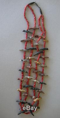 Antique 2-strand Zuni 28 birds and coral Fetish necklace 26