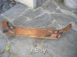 Antique Alaska Tlingit Indian Hand Carved + Painted War / Whaling Canoe