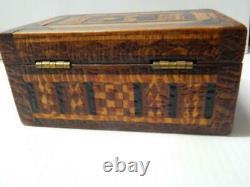 Antique American Folk Tramp Art Inlaid Wood Box Native Indian Whirling Log Dsgn
