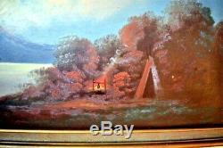 Antique American Oil Painting Hudson River School Indian Encampment 19thC
