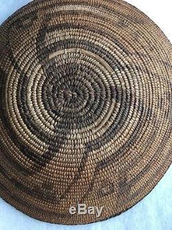 Antique Apache or Pima Native American Indian Basket Tray Seize 14 Braided Trim