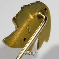 Antique Art Nouveau 14K Gold Native American Indian Brave/Chief Stick Pin