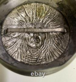 Antique Art Nouveau Tobacco /Cigar Jar Native American Lid Apollo Silver Co