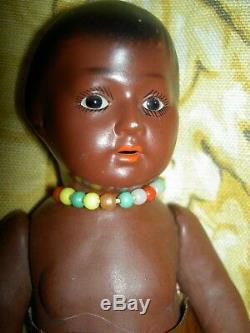 Antique BROWN bisque, Heubach Koppelsdorf #452 rare American Indian toddler doll