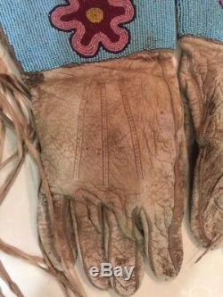 Antique Beaded Crow Indian Gauntlets Indian Native American