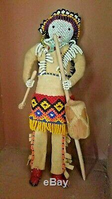 Antique Beaded Leather Zuni Native American Indian Doll Unique