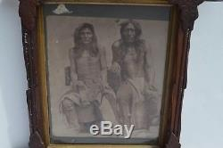 Antique Black And White Photograph Of Two Native American Indian Estate Found