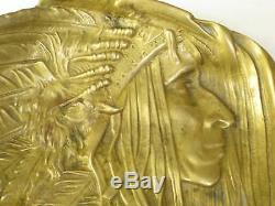 Antique Brass Native American Indian Chief catch all or card Tray