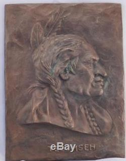 Antique Bronze PlaqueSculpture of TECUMSEHNative American Indian ChiefSigned