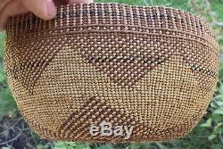 Antique California Hupa Polychrome Native American Indian Basket Very Fine