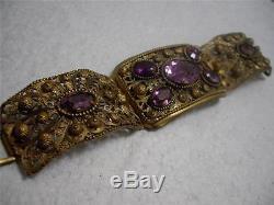 Antique Cannetille Filigree Amethyst Glass Curved Tri Panel Bracelet