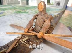 Antique Carved Inuit Hunter in Kayak Skin Covered, Bone, Etc. NR