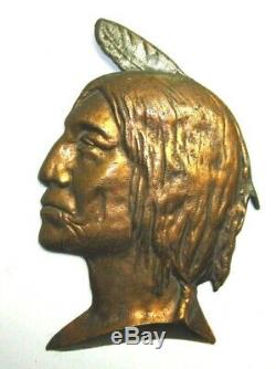 Antique Cast Iron Bronzed Native American Indian Wall Plaque Cigar Store Advert