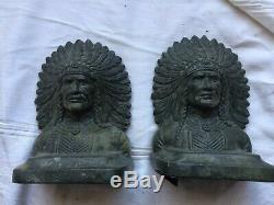 Antique Cast metal indian Chief Native American Bookends