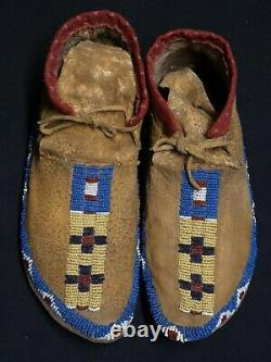 Antique Cheyenne Beaded Boy Mocassins with Parfleche Soles Native American