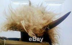 Antique Circa 1890's Native American White Buffalo Horn Headdress Indian Bonnet