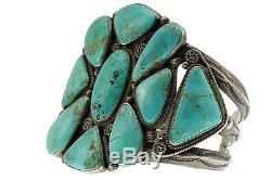Antique Collection, Circa 1940s, Navajo, Nevada Turquoise, Silver, Handmade, 7'