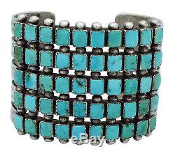 Antique Collection, Zuni 5 Row Cluster Cuff, Amazing Art, Circa 1940s, 6.75 in