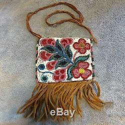 Antique Cree Native American Indian Leather Beaded Tobacco Pipe Bag Pouch 1880