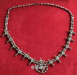 Antique Designer Signed Native American Squash Blossom Turquoise Necklace