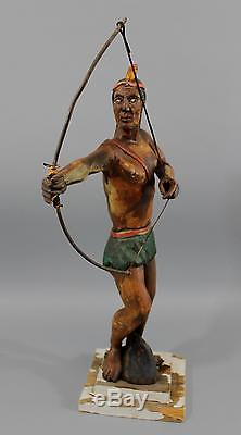 Antique Early 20thC American Folk Art Carved & Painted Native American Indian