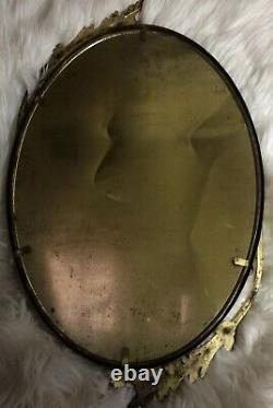 Antique Frame Brass Metal with Convex Dome Glass Oval Ornate Native American Child