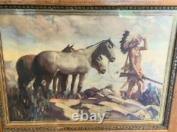 Antique Framed Native American Print 1935 by A. L. Co